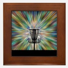 Disc Golf Basket Silhouette Framed Tile