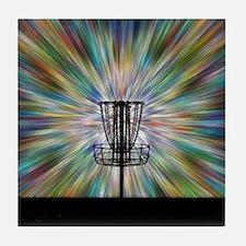 Disc Golf Basket Silhouette Tile Coaster