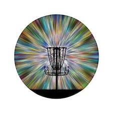 "Disc Golf Basket Silhouette 3.5"" Button"