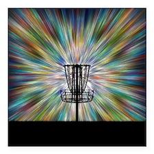 "Disc Golf Basket Silhouette Square Car Magnet 3"" x"