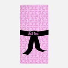 Martial Arts Kick Chick pink Beach Towel