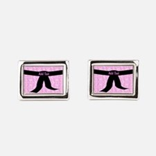 Martial Arts Kick Chick pink Rectangular Cufflinks