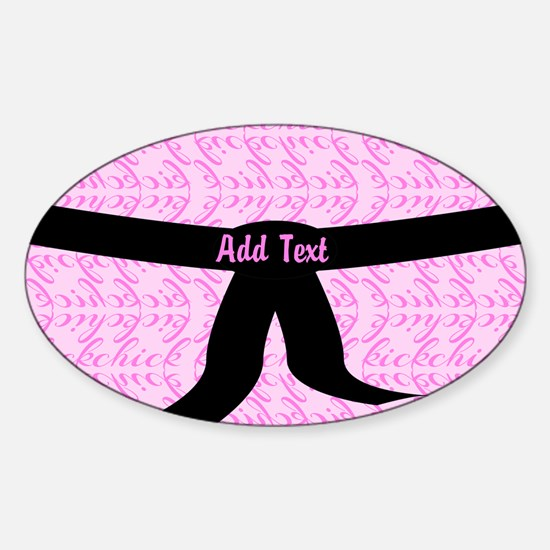 Martial Arts Kick Chick pink Sticker (Oval)