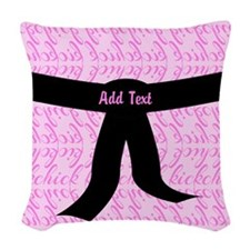 Martial Arts Kick Chick pink Woven Throw Pillow