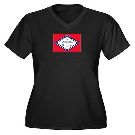 Arkansas Flag Women's Plus Size V-Neck Dark T-Shir