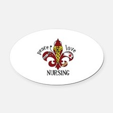 Peace Love Nursing Oval Car Magnet