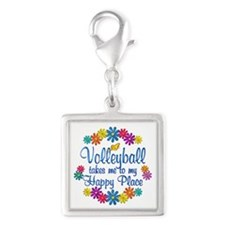 Volleyball Happy Place Silver Square Charm