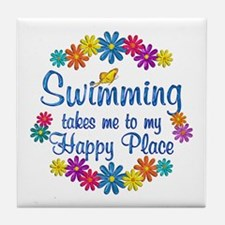 Swimming Happy Place Tile Coaster