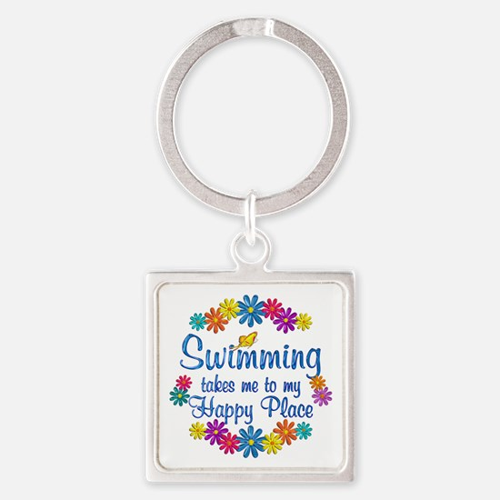 Swimming Happy Place Square Keychain