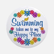 Swimming Happy Place Ornament (Round)