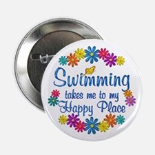 "Swimming Happy Place 2.25"" Button"