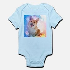 Smiling Corgi with Blue Wave Body Suit