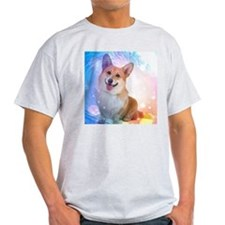 Smiling Corgi with Blue Wave T-Shirt