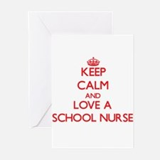 Keep Calm and Love a School Nurse Greeting Cards
