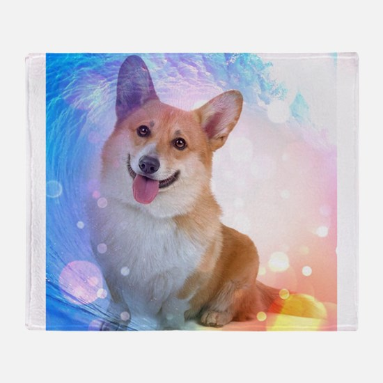 Smiling Corgi with Blue Wave Throw Blanket