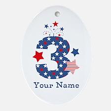 Firecracker 3rd Birthday Ornament (Oval)