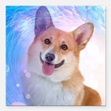 "Smiling Corgi Square Car Magnet 3"" x 3"""