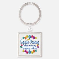 Square Dancing Happy Place Square Keychain