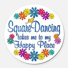 Square Dancing Happy Place Round Car Magnet