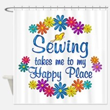 Sewing Happy Place Shower Curtain
