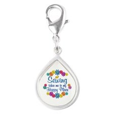 Sewing Happy Place Silver Teardrop Charm