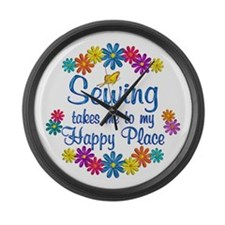 Sewing Happy Place Large Wall Clock