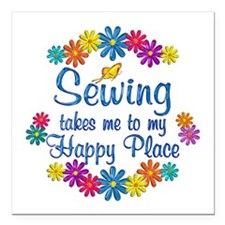 "Sewing Happy Place Square Car Magnet 3"" x 3"""