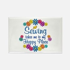 Sewing Happy Place Rectangle Magnet