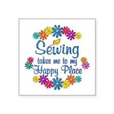 "Sewing Happy Place Square Sticker 3"" x 3"""