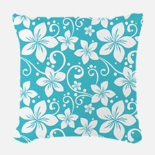 Plumeria Blue Curacao Woven Throw Pillow