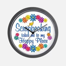 Scrapbooking Happy Place Wall Clock