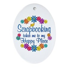 Scrapbooking Happy Place Ornament (Oval)