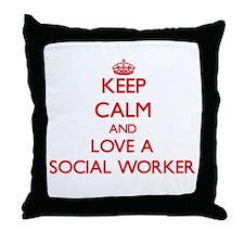 Keep Calm and Love a Social Worker Throw Pillow