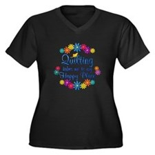 Quilting Hap Women's Plus Size V-Neck Dark T-Shirt