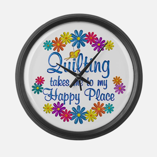 Quilting Happy Place Large Wall Clock