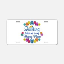 Quilting Happy Place Aluminum License Plate