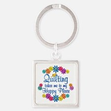 Quilting Happy Place Square Keychain