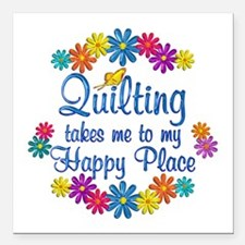 """Quilting Happy Place Square Car Magnet 3"""" x 3"""""""
