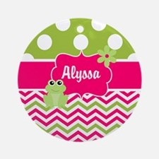 Pink Green Chevron Frog Personalized Ornament (Rou