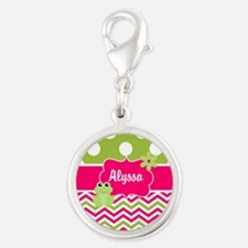 Pink Green Chevron Frog Personalized Charms