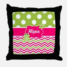 Pink Green Chevron Frog Personalized Throw Pillow