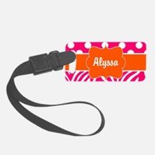 Pink Green Dots Zebra Luggage Tag