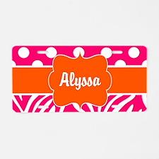 Pink Green Dots Zebra Personalized Aluminum Licens