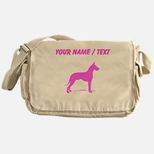 Custom Pink Great Dane Silhouette Messenger Bag