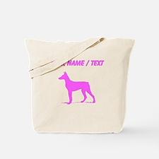 Custom Pink Doberman Silhouette Tote Bag