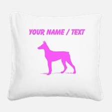 Custom Pink Doberman Silhouette Square Canvas Pill