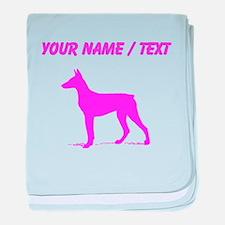 Custom Pink Doberman Silhouette baby blanket
