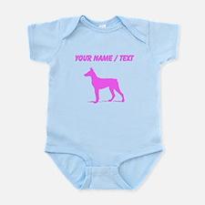 Custom Pink Doberman Silhouette Body Suit