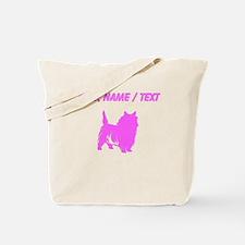 Custom Pink Cairn Terrier Silhouette Tote Bag