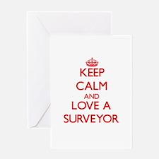 Keep Calm and Love a Surveyor Greeting Cards